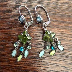 Sorrelli blue/green crystal drop earrings